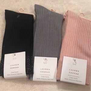 LC Lauren Conrad Sparkle Trimmed Crew Socks (3 pr)